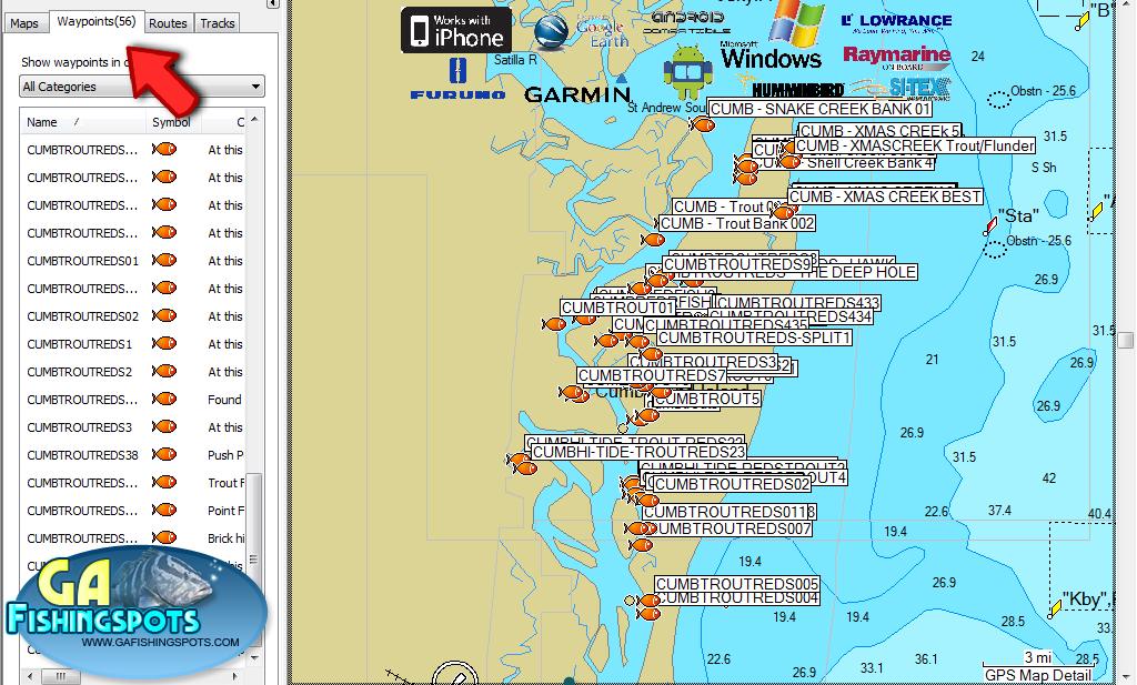 cumeberland island fishing spots and fishing maps
