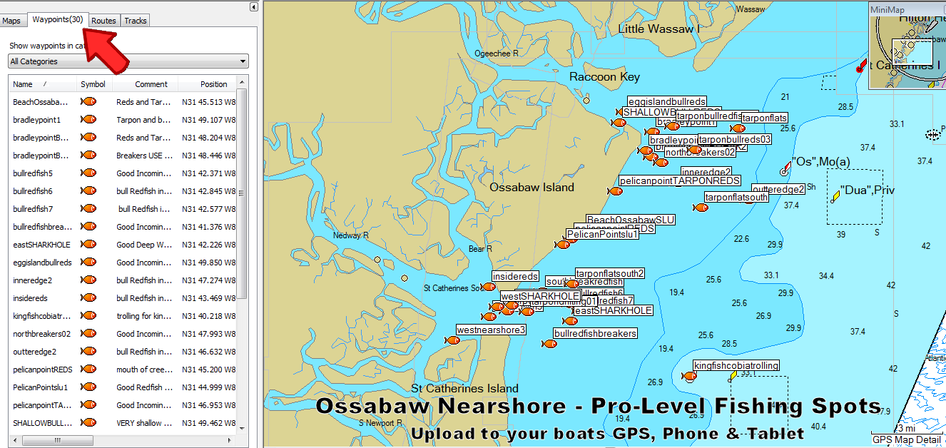 Ossabaw Island Fishing Spots And Fishing Map - Georgia map islands