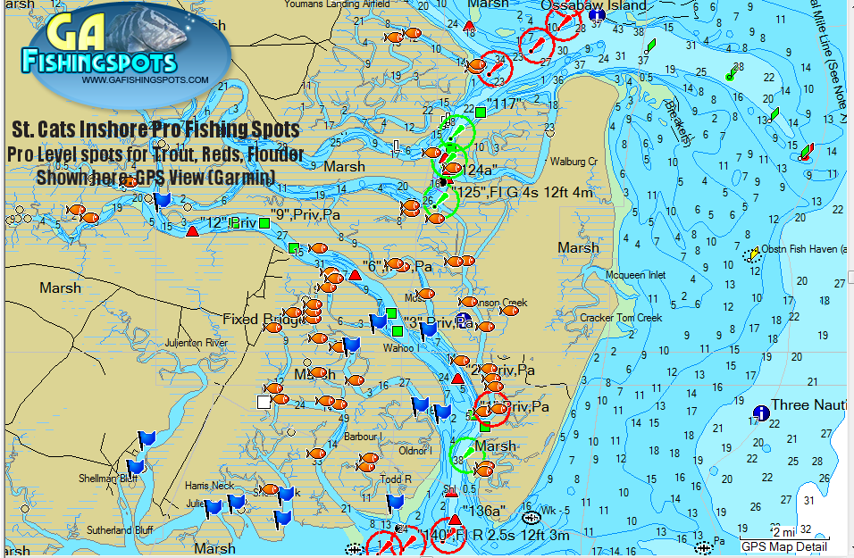 St catherines island fishing spots map for Georgia trout fishing map