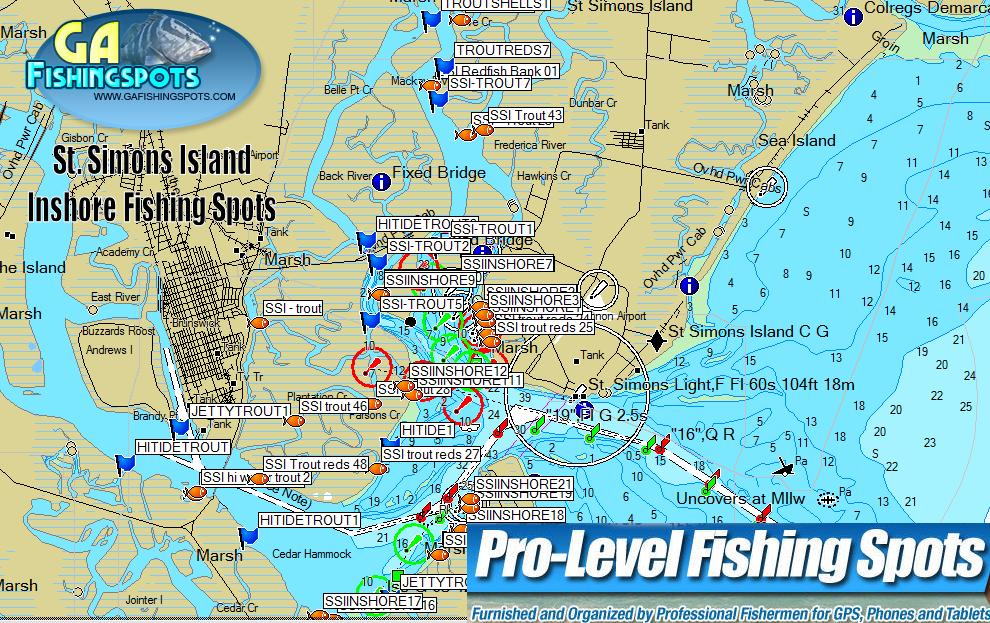 Map Of St Simons Island St. Simons Island Fishing Spots Map | GPS Fishing Spots & Fishing Maps Map Of St Simons Island