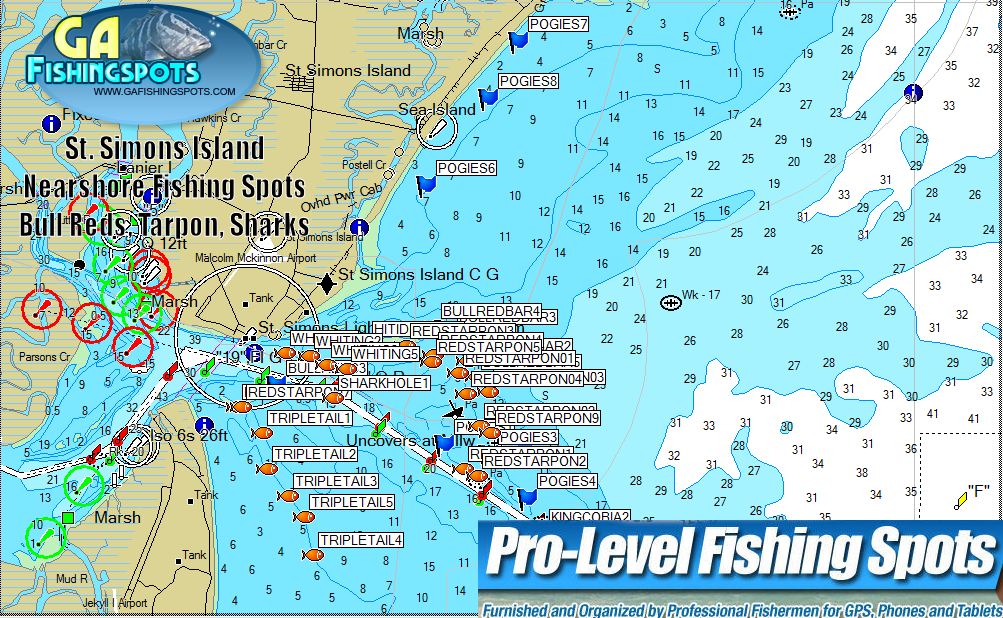 St simons island fishing spots map ga fishing spots for Nearest fishing spot
