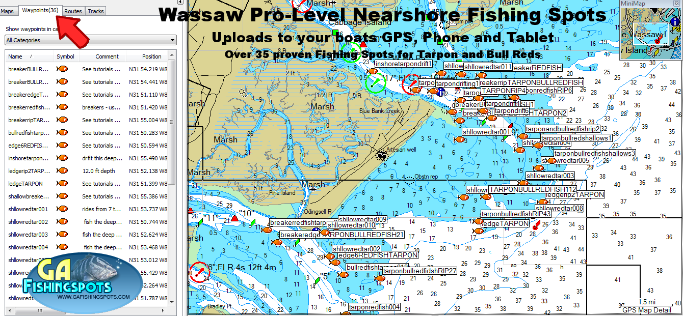 Wassaw island fishing spots and fishing map for Nearby fishing places