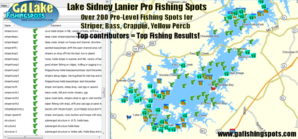 Lake lanier fishing map fishing spots for bass striper for Lake lanier fishing spots