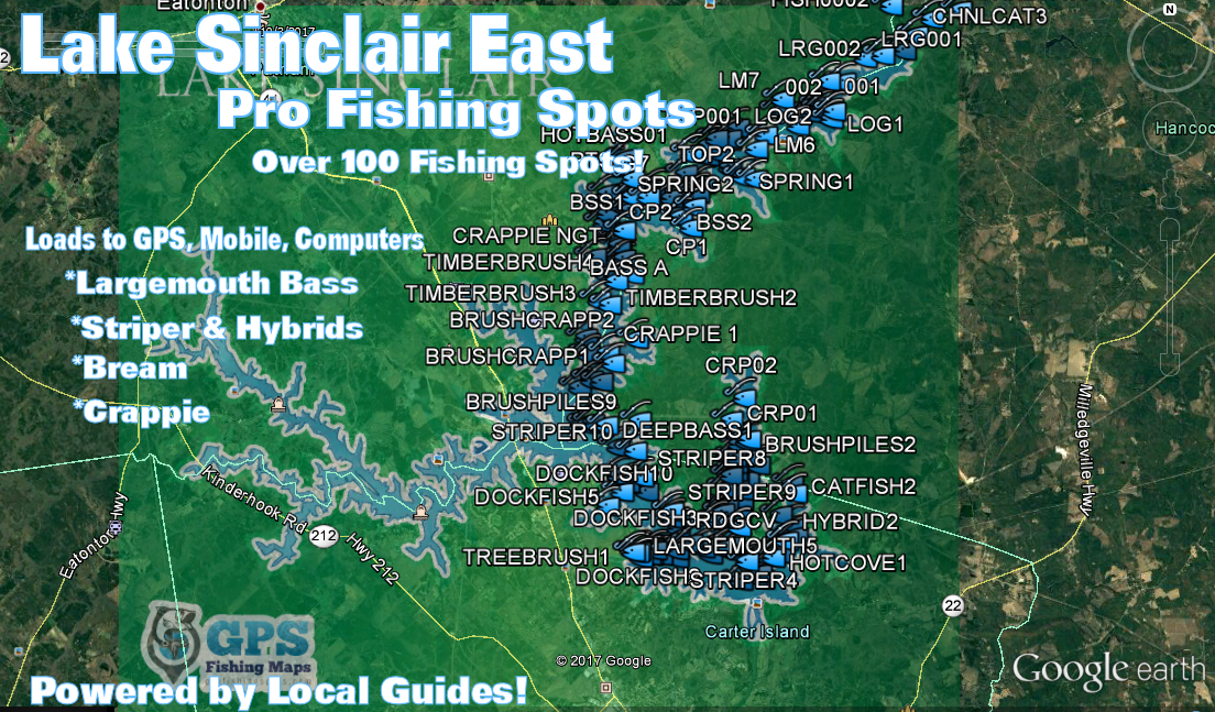 Lake sinclair fishing map fishing spots for bass for Fishing spots finder
