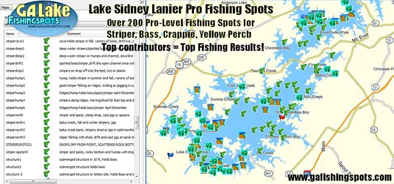 lake lanier depth map Lake Lanier Fishing Spots Map Gps Fishing Spots For Bass lake lanier depth map