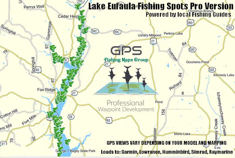 lake eufaula fishing map Lake Eufaula Fishing Maps Ga Al Georgia Fishing Spots For Gps lake eufaula fishing map