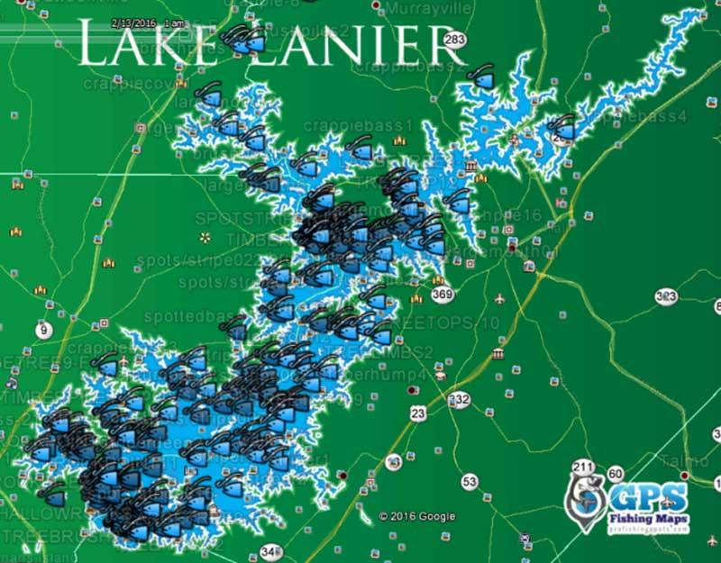 lake lanier fishing map Lake Lanier Fishing Spots Map Gps Fishing Spots For Bass lake lanier fishing map